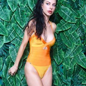 Herve Leger Veronika Colorblocked Swimsuit Citron